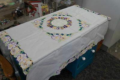 Vintage Hand Embroidered Linen Pansy Table Cloth and Doilie