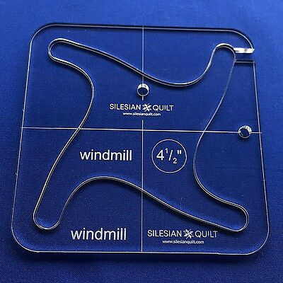 """Quilting Template WINDMILL 4 1/2"""" (template fits to FMQ GRIP 5)"""