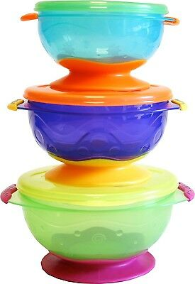 Nuby Stackable Suction Baby Toddler Feeding Bowl with Lid x 3 Multi-Coloured