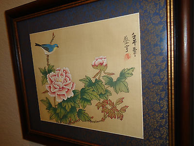 Asian Chinese watercolor on silk traditional art + 2 vintage embroided silk art