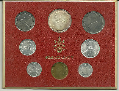 VATICAN CITY - Mint Set, 1967 - With Silver 500 Lire!  LOOK!
