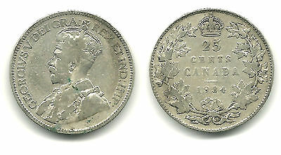 CANADA - Silver 25 Cents, 1934 - King George V - KM #24a