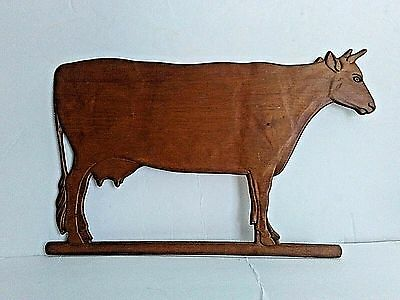 Vintage Wooden Cow Wall Plaque Country Farmhouse Decor Folk Art 18.5 x 12""