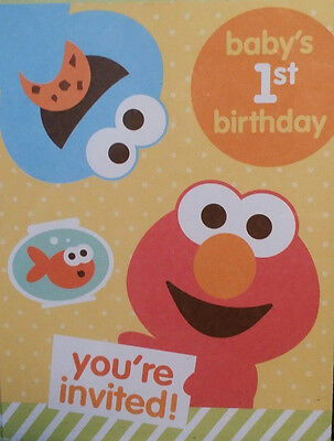 Sesame Street Babys 1st Birthday Party Invitations Elmo 10 Cards ONE ELMO NEW