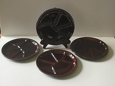 """Gien Mirrow Brown 8"""" DIVIDED GRILL APPETIZER SALAD PLATES Lot x 4 Made In France"""