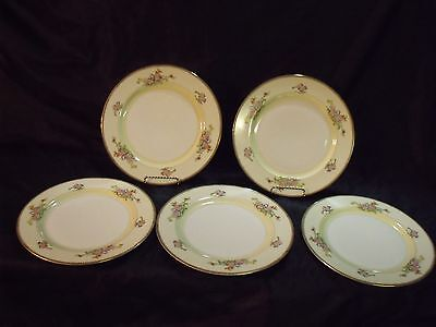 """Set Of (5) Meito China Japan 'the Berkshire' Hand Painted 10"""" Dinner Plates Nos"""