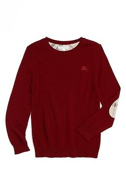 BURBERRY Kids Mini Durham Cashmere Crewneck Sweater Burgundy sz 6 yrs NEW $185