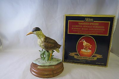 Bonin Night Heron Vanished Species Figurine Numbered, Aldon Wood Base in Box