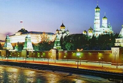 New Russian Postcard. Moscow. Kremlin from the Moscow - River at night