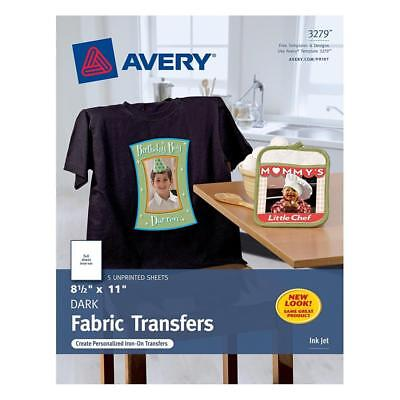 T Shirt Transfers Iron On Dark Avery InkJet, White, Five Sheets NEW