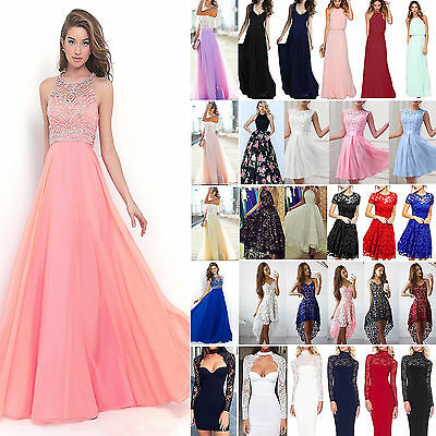 Womens Lace Formal Dress Wedding Ladies Evening Ball Gown Party Prom Bridesmaid