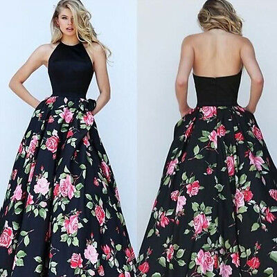 Women Floral Formal Long Dress Ladies Evening Prom Party Bridesmaid Wedding Gown