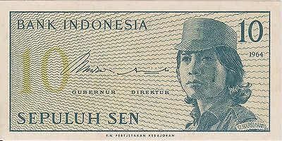 (N3-96) 1964 Indonesia 10 SEN bank note (E)
