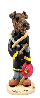 Airedale Terrier Firefighter Hand Painted Collectible Resin Figurine