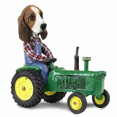 Basset Hound on a Tractor Hand Painted Collectible Resin Figurine