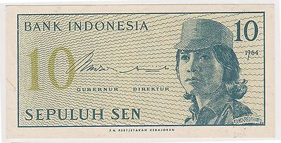 (N3-92) 1964 Indonesia 10 SEN bank note (A)