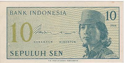 (N3-95) 1964 Indonesia 10 SEN bank note (D)