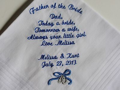 Wedding Handkerchief -  Personalized 25 words - machine embroidered Bride Groom