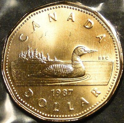 *first issue year* BU UNC uncirculated Canada 1987 loonie $1 dollar coin