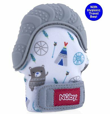 Nuby Happy Hands Soothing Teething Mitten with Hygienic Travel Bag, Grey
