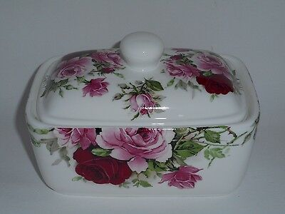 BN Shabby Chic Pink Rose Fine Bone China Butter Dish, Retro Floral Butter Dish