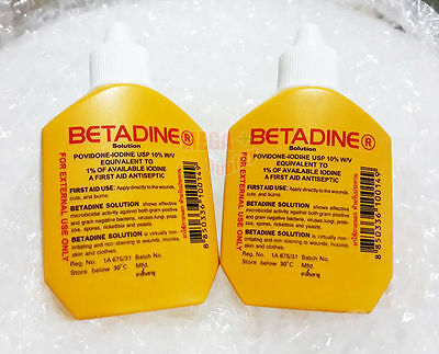 2 x 30 cc. BETADINE POVIDONE IODINE FIRST AID SOLUTION ANTISEPTIC CUTS WOUNDS