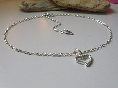 Sterling Silver Anklet, Ankle Bracelet, Open Heart Charm Anklet, Extension Chain