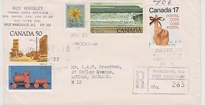 1980 Registered Cover from Vancouver to London with C$1.85 in Postage