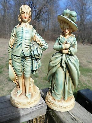 1940's Vintage Chalkware Victorian Blue Man and Blue Woman Figurines by New Art