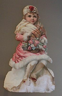 """17"""" Die Cut & Embossed Victorian Ad Sign """"Girl In Winter"""" Chas.L. Kahler & Co."""