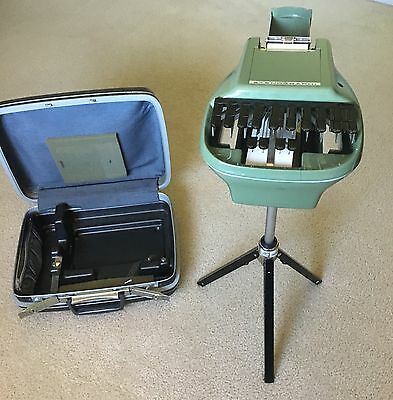 Stenograph Reporter Model Shorthand Machine with Samsonite Case and Tripod Stand