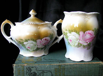 Antique German Handpainted Pink Rose & White Rose Molded Creamer and Sugar Bowl