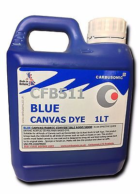 Blue convertible roof hood canvas dye reviver, restores colour to fabrics. 1 LT