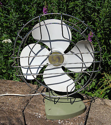 VTG Mid-Century Olive Green Superior Oscillating Electric  Desk Fan
