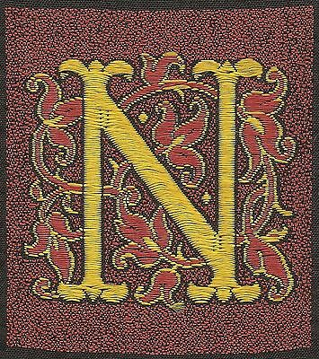 Vintage tobacco cigarette woven embroidered silk -use in crazy quilt -LETTER 'N'