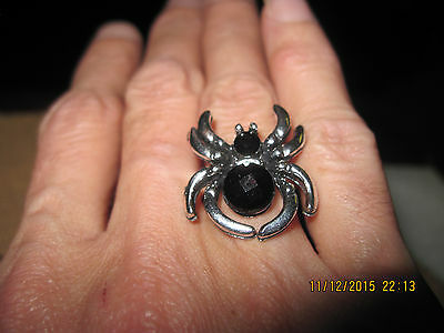 "BEAUTIFUL Silver & Black ""Gemstone"" Spider Adjustable Ring  ...#2186"