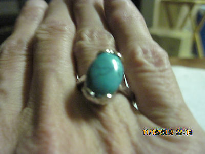BEAUTIFUL Silver & Turquoise Ring  sz 7.5...#2186b