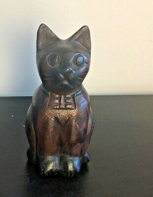 Mandalay Box Company Hand Carved Wood Sitting Cat Thailand Rustic Kitten Feline