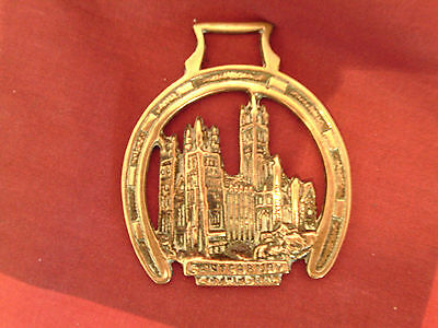 """Genuine Antique Horse Brass: Inscribed """"Canterbury Cathedral"""" Horse Shoe Frame"""
