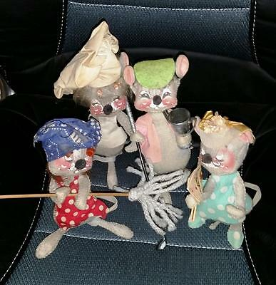 4qty Vintage ANNALEE MOBILITEE MOUSE MICE 1971 Chef Golfer Cleaning Royal Flush