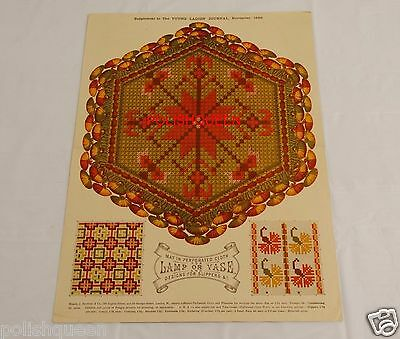 ANTIQUE 1886 NEEDLEWORK NEEDLEPOINT TAPESTRY PATTERN for MAT & DESIGNS SLIPPERS