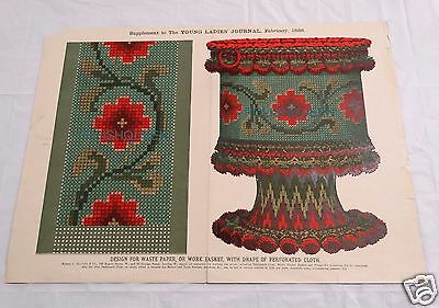ANTIQUE 1886 BERLIN WORK NEEDLEPOINT TAPESTRY PATTERN for WORK BASKET or WASTE
