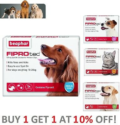 Beaphar FIPROtec Flea Spot On for Small Medium Large XL Dogs Cats Flea Treatment