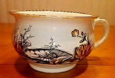 T&R Boote Antique Chamber Pot 1879 Transferware England Swallow Pattern Bird