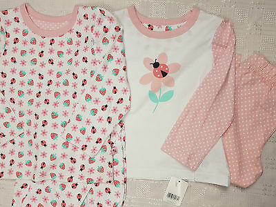 MOTHERCARE GIRLS PYJAMA DOUBLE 2 SETS PINK WHITE Age 1 2 3 4 5 6 7 8 years NEE