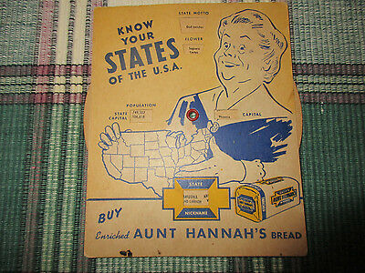 Aunt Hannah's Bread Advertising  Know Your States 1951