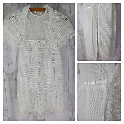 True Vintage BABY DRESS w/HOODED CAPELET~White Christening GOWN~CROCHET LACE
