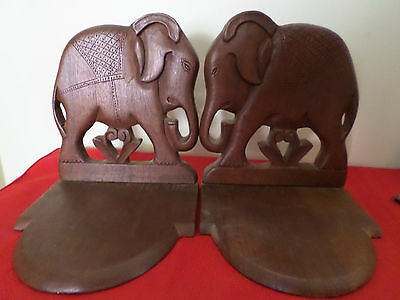 Vintage Made In India Carved Wood Elephant Book Ends