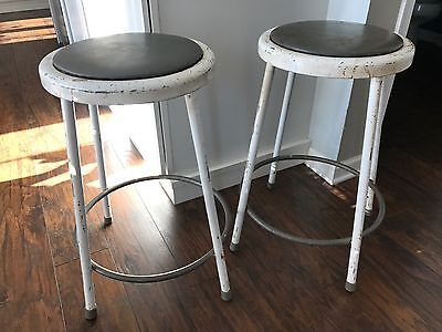 Vintage Shop Machine Age Metal Steampunk Stool Industrial Pair Two