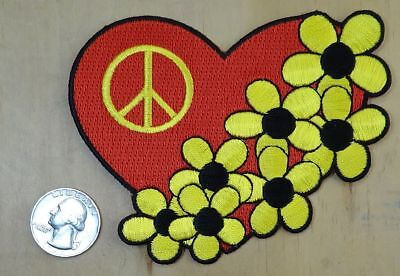 "HEART DAISIES & PEACE SIGN  IRON-ON / SEW-ON EMBROIDERED PATCH 4.5""x 3.5"""